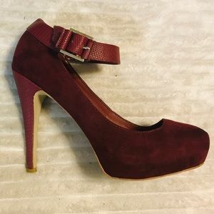 Penny Loves Kenny Burgundy Suede Snake Heels
